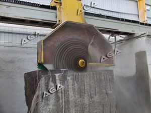 machine cutting granite