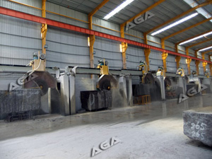 machine cutting granite blocks